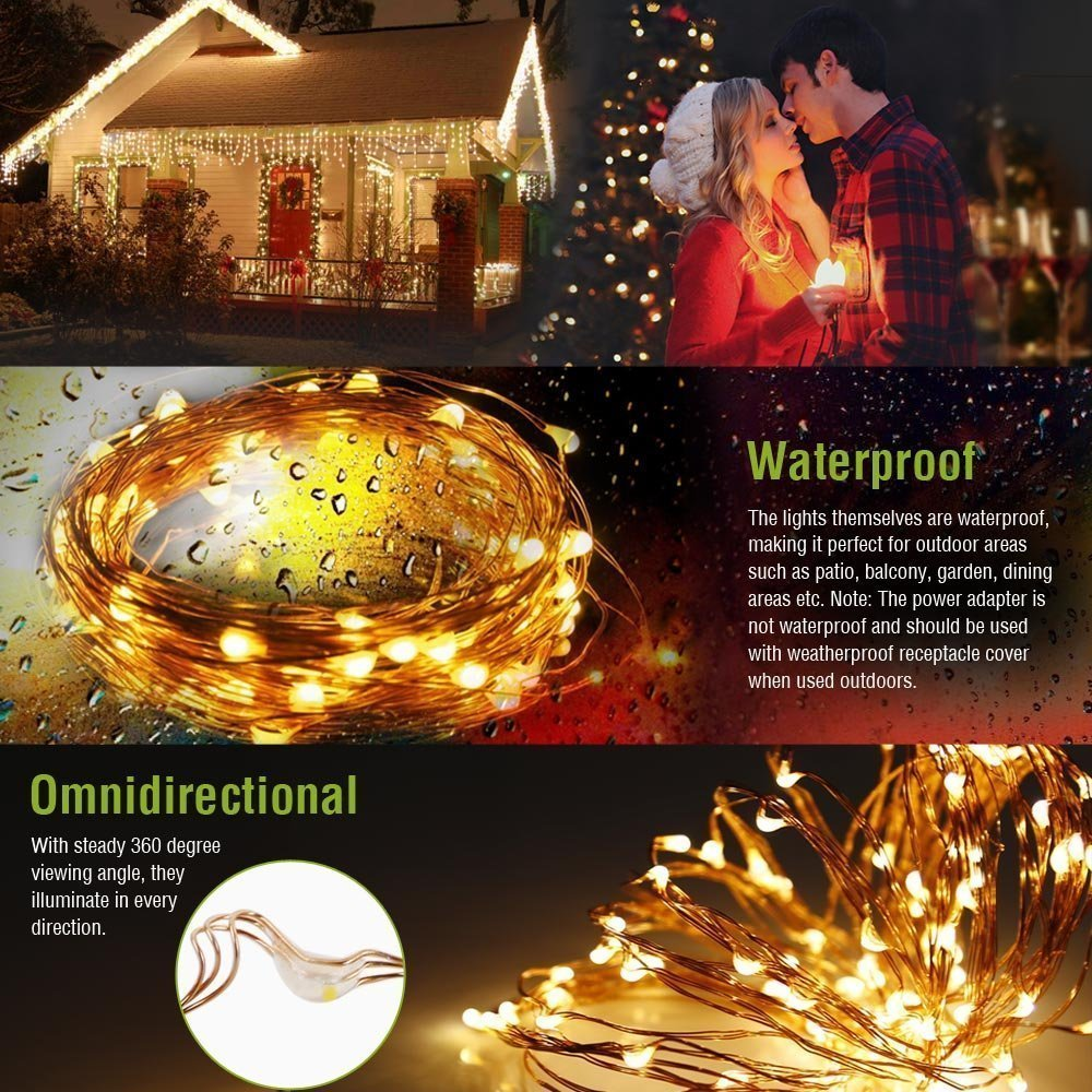 OSIDEN garland light usb 16.4 32.8ft Copper wire string Fairy strip light decoration Garden festive party Fairy tale atmosphere