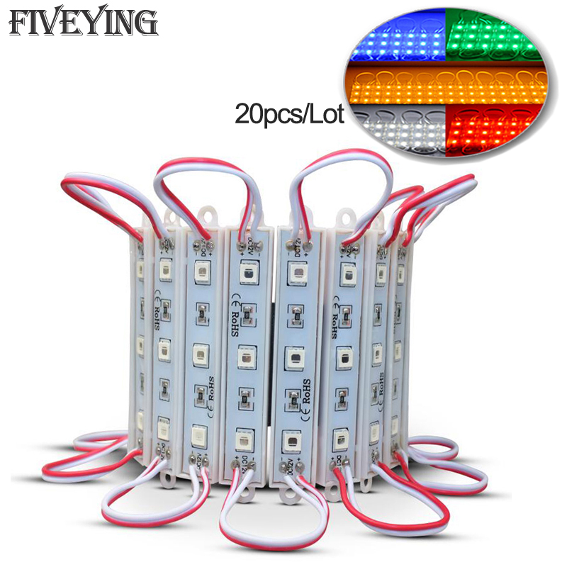 20pcs/lot DC12V 5050 SMD 3LEDs LED Module White/Warm white/Red/Green/Blue/RGB IP65 waterproof light LED advertising lamp
