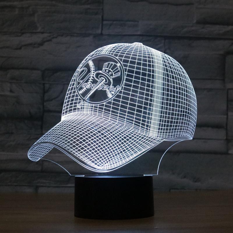 New York Yankees Night Lamp 7 Color USB LED Desk Bedside Light 3D Home Decor
