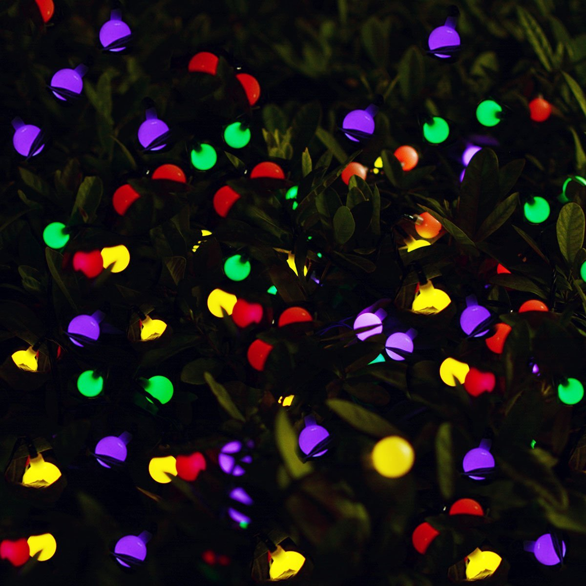 Dcoo Solar Globe LED String Lights 3 Colors 50 LEDs Ball Party Fairy Lights Garden Holiday Wedding Decoration Outdoor Lighting