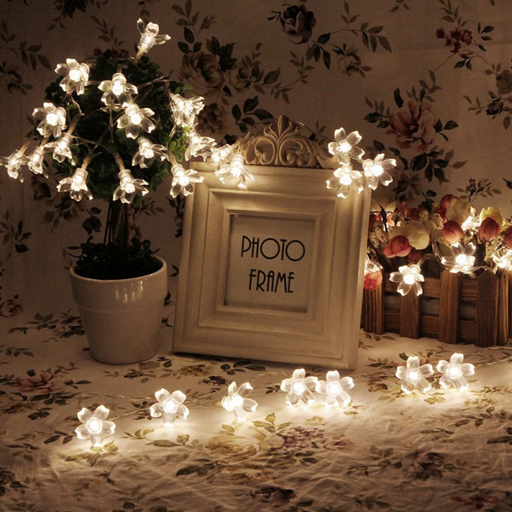 2.2M 20 Leds Fairy Battery Plum Blossom Flower String Lights Wedding Party Decoration Christmas Indoor Curtain Holiday