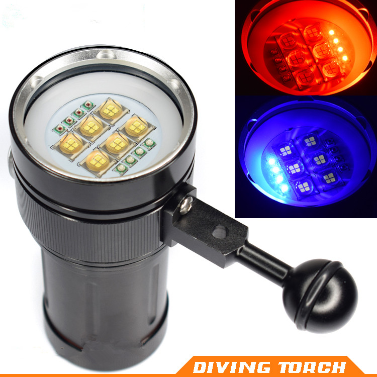 18000LM Hot 4x Red Light + 4x UV LED Torch Underwater Video Diving Flashlight Lamp 6x 9090 LED White Light Activefire torch