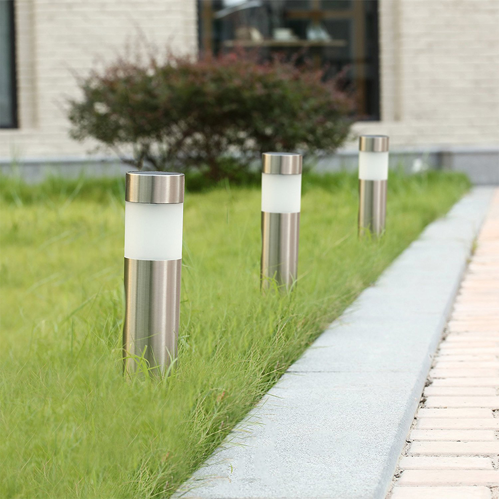 6PCS Solar Light Stainless Steel Pathway Lawn Lamp Warm White Solar Bollard Light Outdoor Garden Decoration Security Light