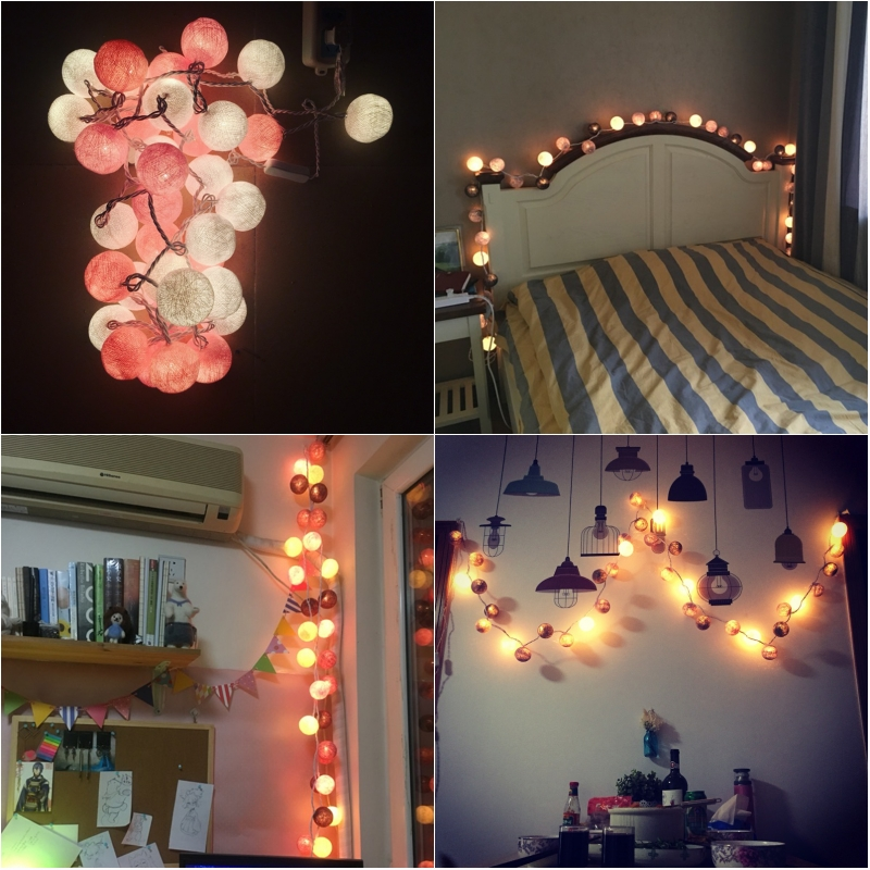 20pcs/set High quality White-Pink Cotton Ball String Lights Handmade Light String for Holiday Wedding Party Christmas Room Decor