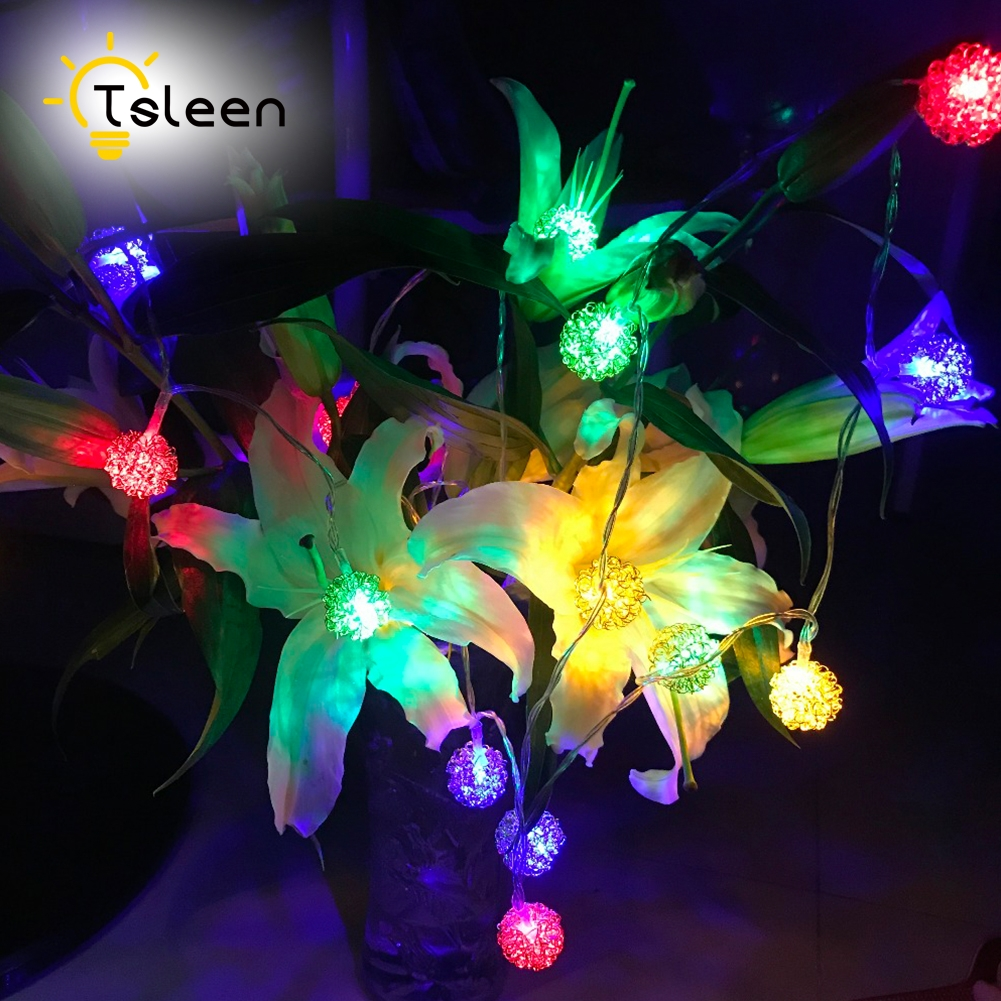 TSLEEN Silver Wire String Lights Ball Fariy Led Iron 2M 20Leds Warm White/Colorful Battery Operated guirlande lumineuse LED