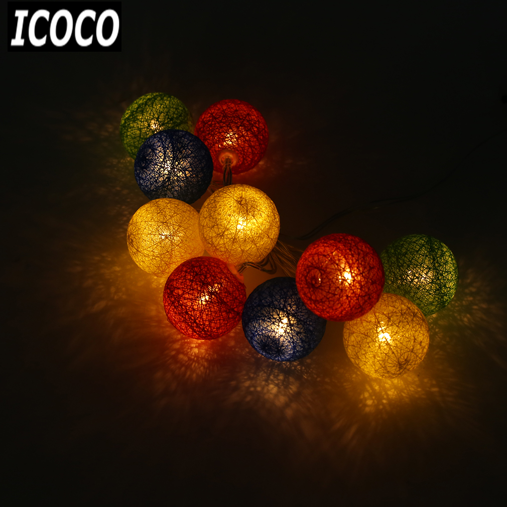 ICOCO 10PCS LED Cotton Christmas Ball Light Dry Battery 1.2M String Lights for Banquet Christmas Decorations Home and Trees Sale