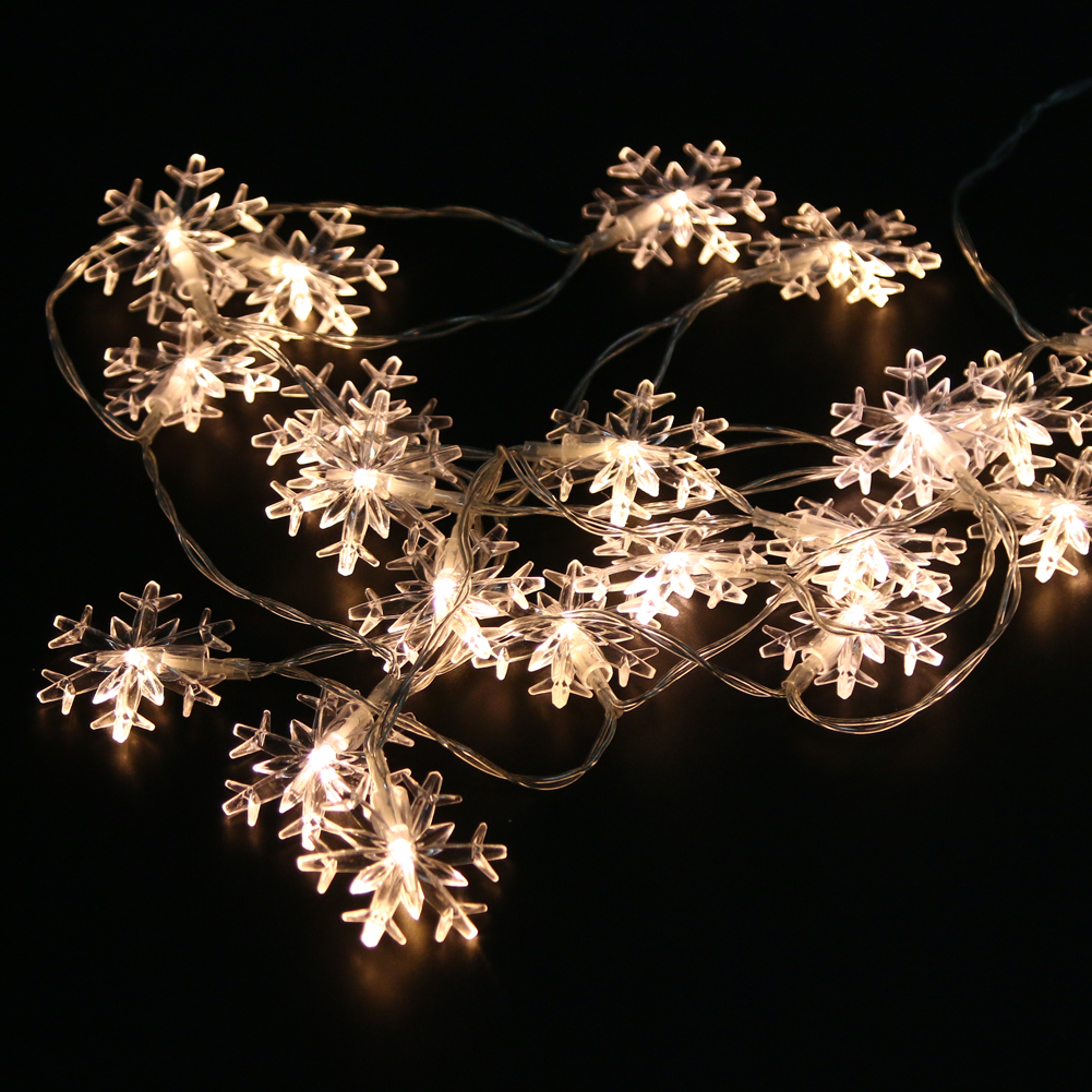 2.3M 20LED Snowflake Lamp Holiday Lighting Wedding Party Festival Decoration Curtain Indoor Outdoor String Lights