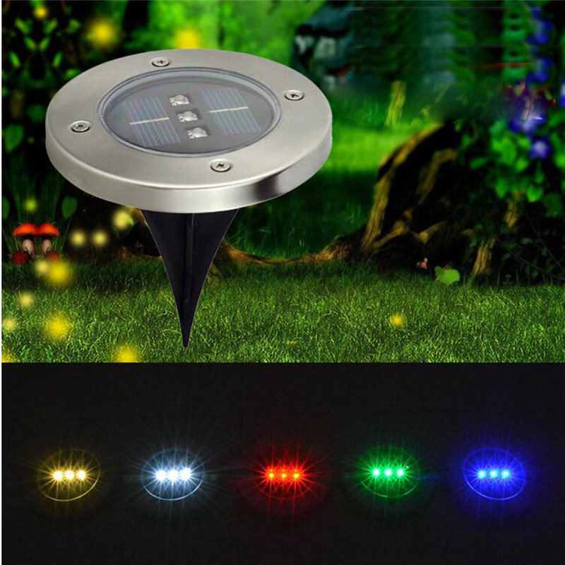 Solar Landscape Underground Light ,3LEDS Waterproof  In-Ground Lights Pathway Lawn Up Light ,for Outdoor Garden Walkway Patio