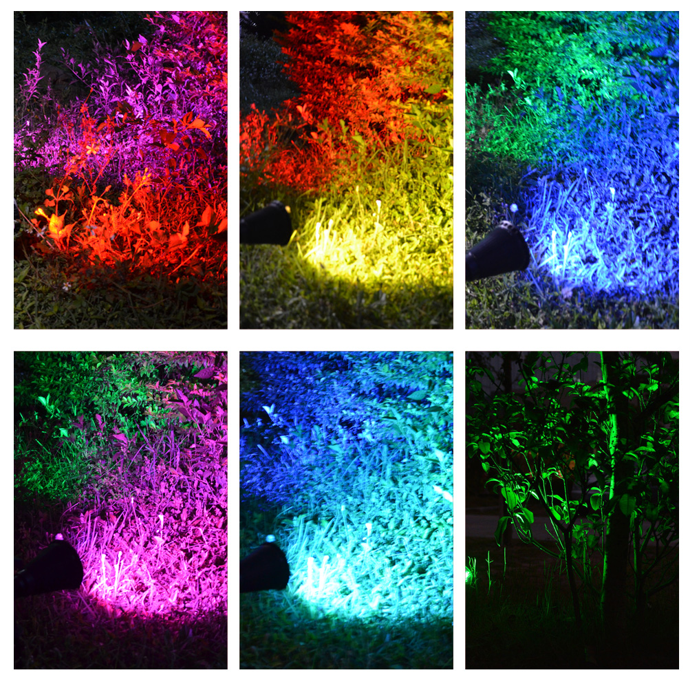 T Sunrise 7 Led Solar Spot Light Auto Color Changing Outdoor