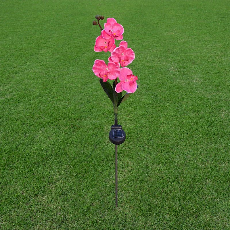 Hi-Lumix 2PC IP55 Waterproof Solar Powered butterfly orchid Pink Flower Landscape Decoration Outdoor Garden Yard Lawn Lights