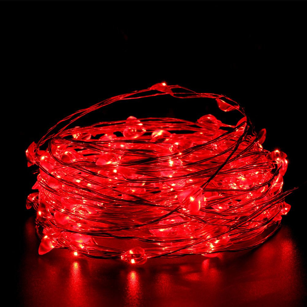 NEW 10M 100LEDs Red Heart Copper Wire String Lights LED Fairy Lights with 12V DC Power Adapter for Christmas Wedding Decoration