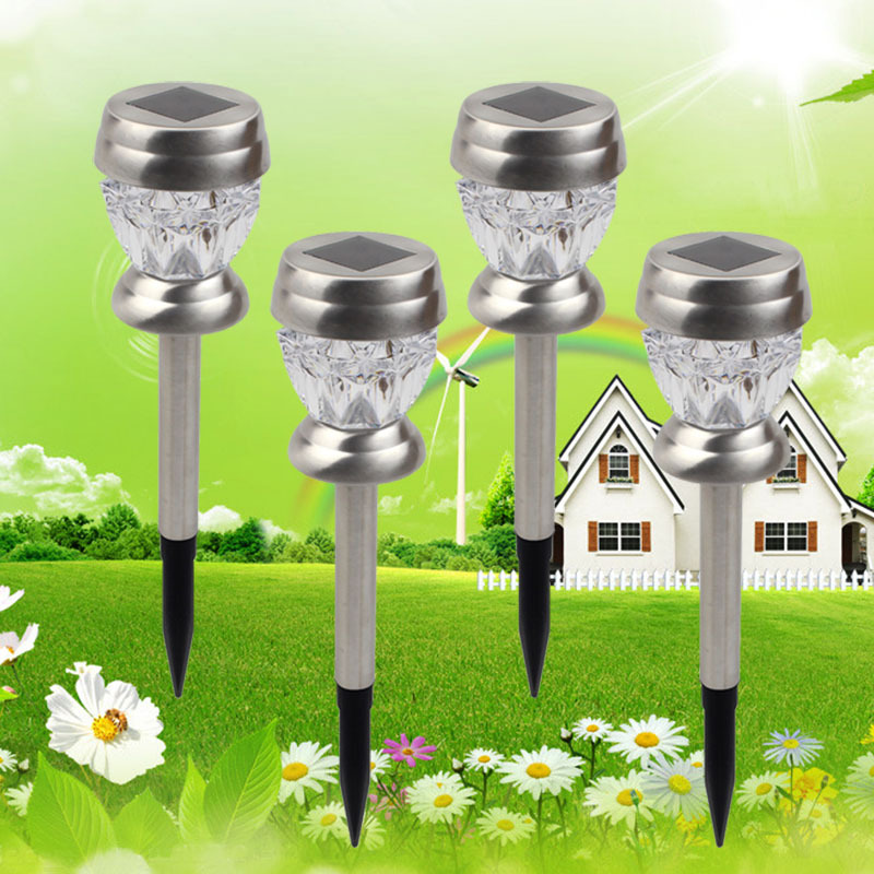 RGB / White Solar Crackle Crystal LED Lawn Lamp Light Lamp Led Solar Light with Stainless Steel Stake For Lawn Outdoor Garden