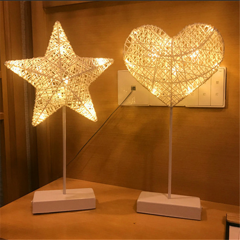 Hand-Crafted 40cm White LED Night Light Star Heart love Shape Lamp Battery Power Girls Room Romantic Decorative Night Table Lamp