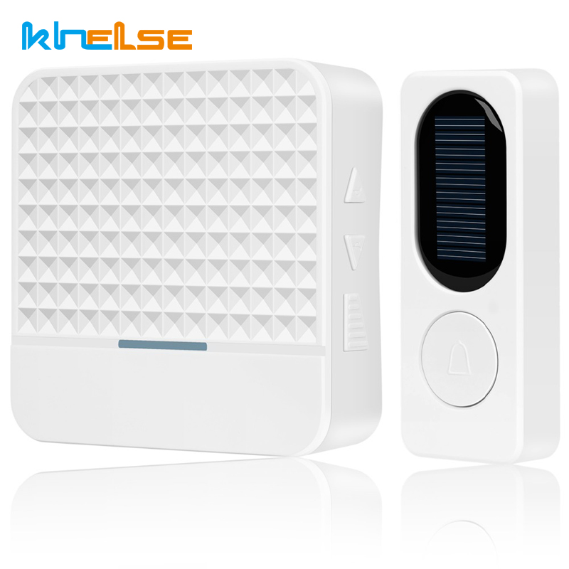 New 300M range Solar power Wireless Doorbell with Night Light AC 90-260V US Plug Waterproof Door bell 52 Melody White