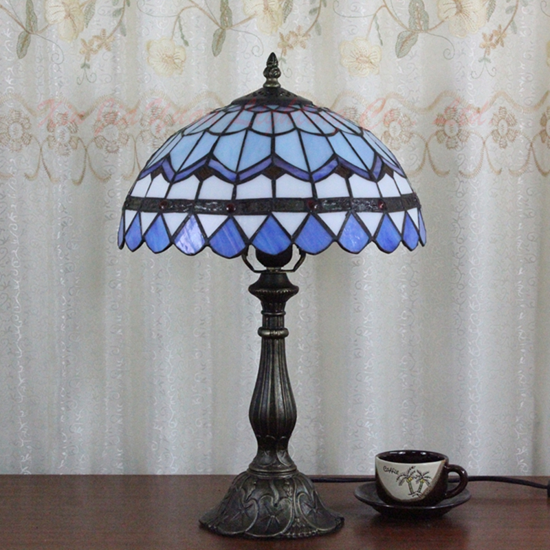 ODIFF European classical stained glass lamp bedroom bedside lamp Mediterranean  Children room study desk lamps 110-240V e26 E27