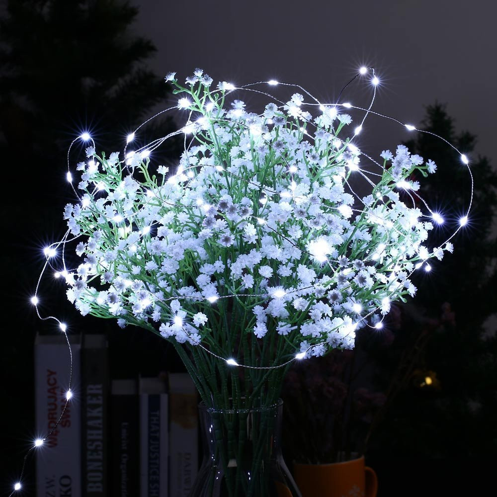 Battery Powered LED Strings Light with Remote Control 5M Flexible Silver Wire Waterproof Christmas Holiday Party Decoration