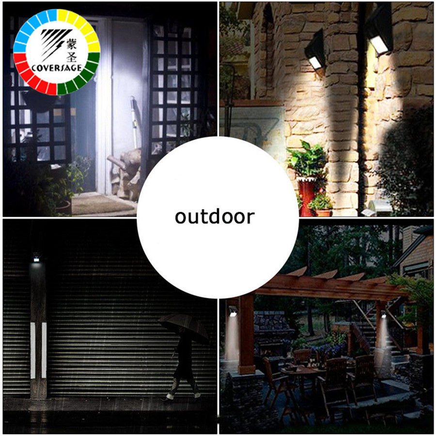Coversage 6 LED Solar Outdoor Iluminacion Luz Auto Motion Light Sensor Waterproof  Led Energy Wall Lights Garden Porch Lamp
