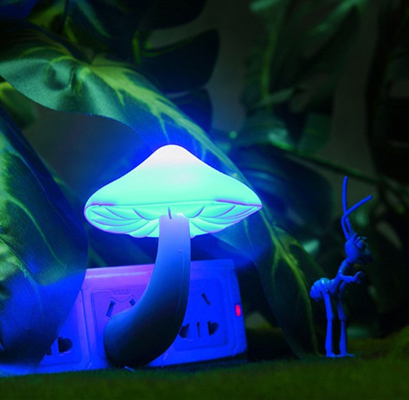 LumiParty Small LED Lava Lamps Portable Mushroom Night Light Bedside Wall Lamp Blue Light