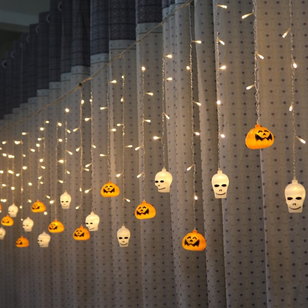 Feimefeiyou 96 leds 216 leds lampada led Skull And Crossbones pumpkin Fairy Lights LED Curtain String Lights Indoor Decoration