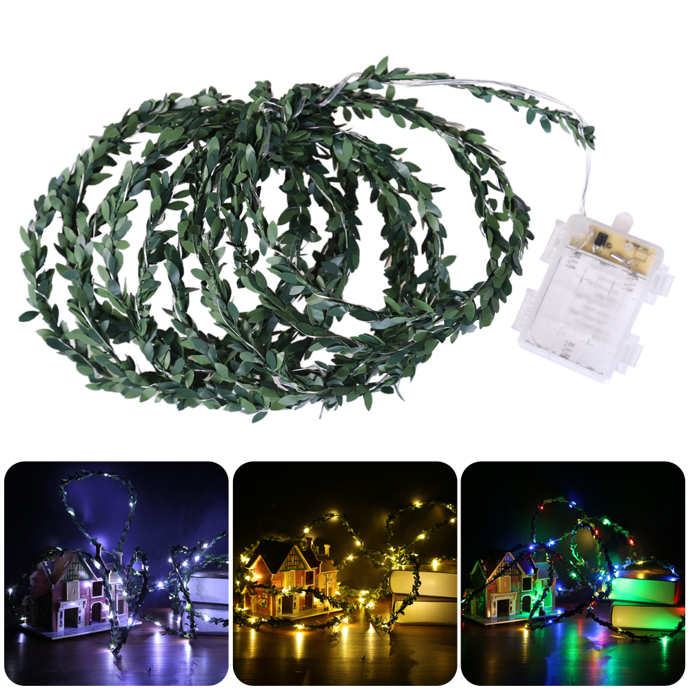 50 LEDs 5M Green Leaf LED String Rattan Ball Light Bulb Fairy Lighting Holiday Christmas Garden Decoration Energy Save Lights
