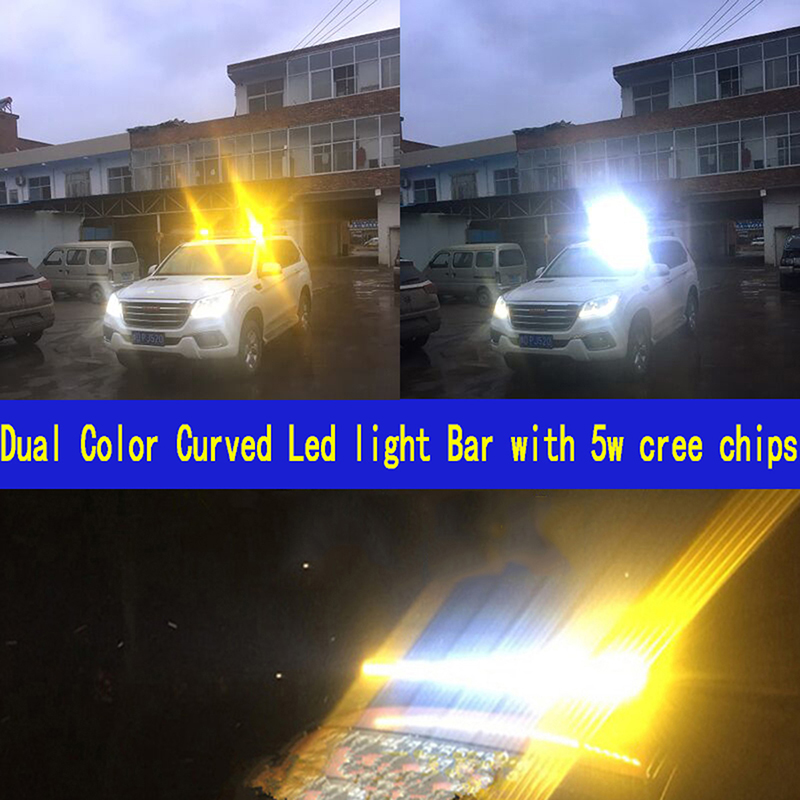 Dual Color Curved LED Light Bar 33 34inch 150W Off-road Light Bar White Amber Yellow Spot Flood Combo Beam LED Work Diving Light