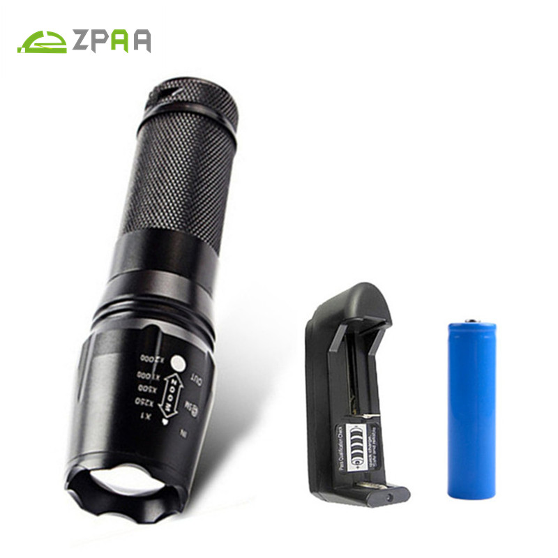 ZPAA CREE XML T6 XM-L2 LED Zoom Flashlight Torches 5000LM Zoomable Flashlight Lanterna LED Torch by 26650 18650 AAA Battery