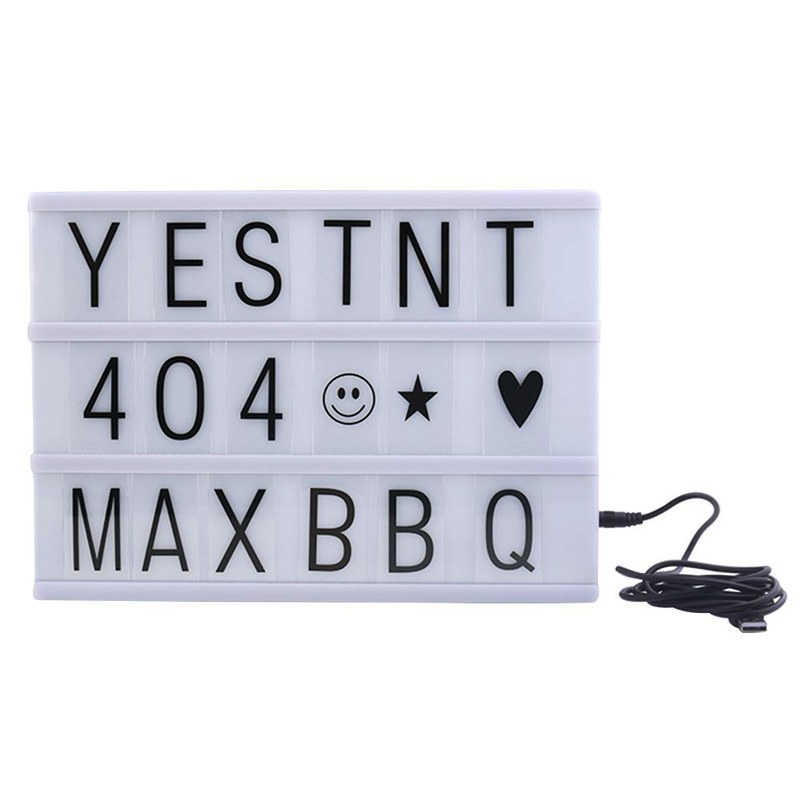 Cinema Lightbox A4 Cinematic Light Box with 90 Letters Free Combination for Wedding, Home, Photoshoots, Birthday Party