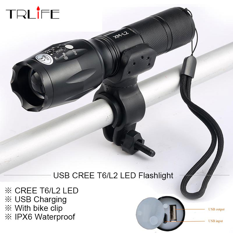 Newest USB 8000 Lumens Flashlight LED CREE XM-T6 L2 Front Torch Bicycle Light lamp with USB Charger+Bike Clip