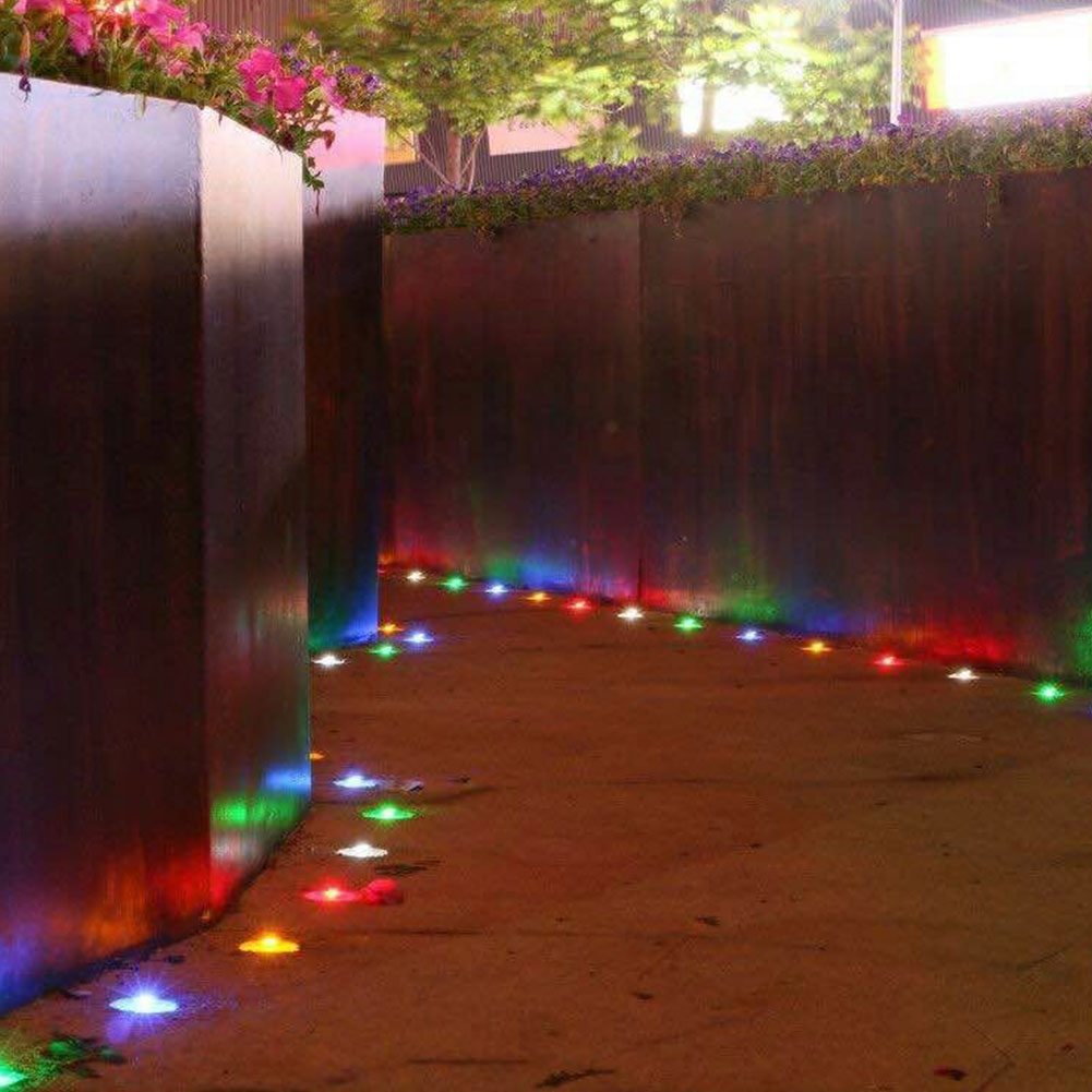 Solar Powered 6LED Outdoor Pathway Glass Road Step Lights Garden Green Lawn Lamp