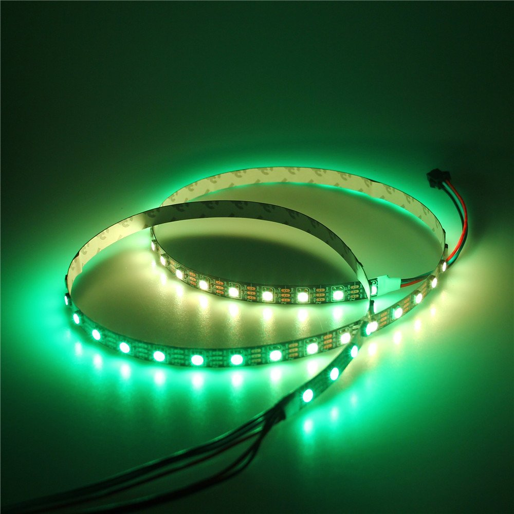 3.2ft 60 Pixels WS2812B Individual Addressable RGB LED Strip Light Programmable WS2811 IC Built-in 5050 LED Rope Lamp DC5V Black
