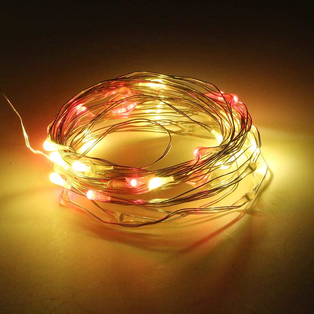 Remote Control 5M 50Led Mini Copper Wire String Lights lamp Decoration For Christmas Wedding Party Halloween National Day