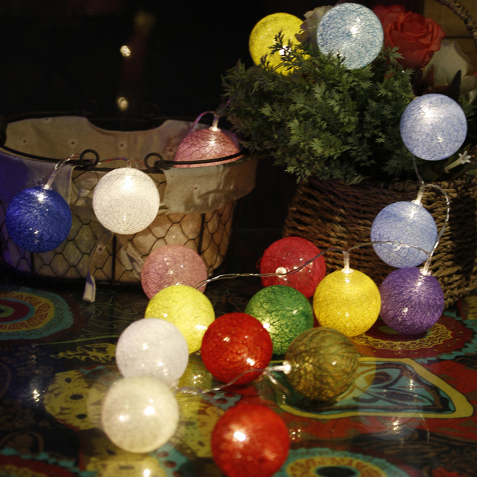 3 meter  Balls led string light, 30 pcs Cotton Ball 6CM String Party lights,home/Patio/Romantic wedding decor. / Christmas light