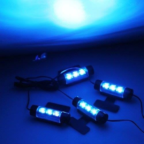 universal 4pcs 3LED Blue Car Charge 12V Glow Interior Decorative 4in1 Atmosphere Light Lamp 360 degree adjustable led light