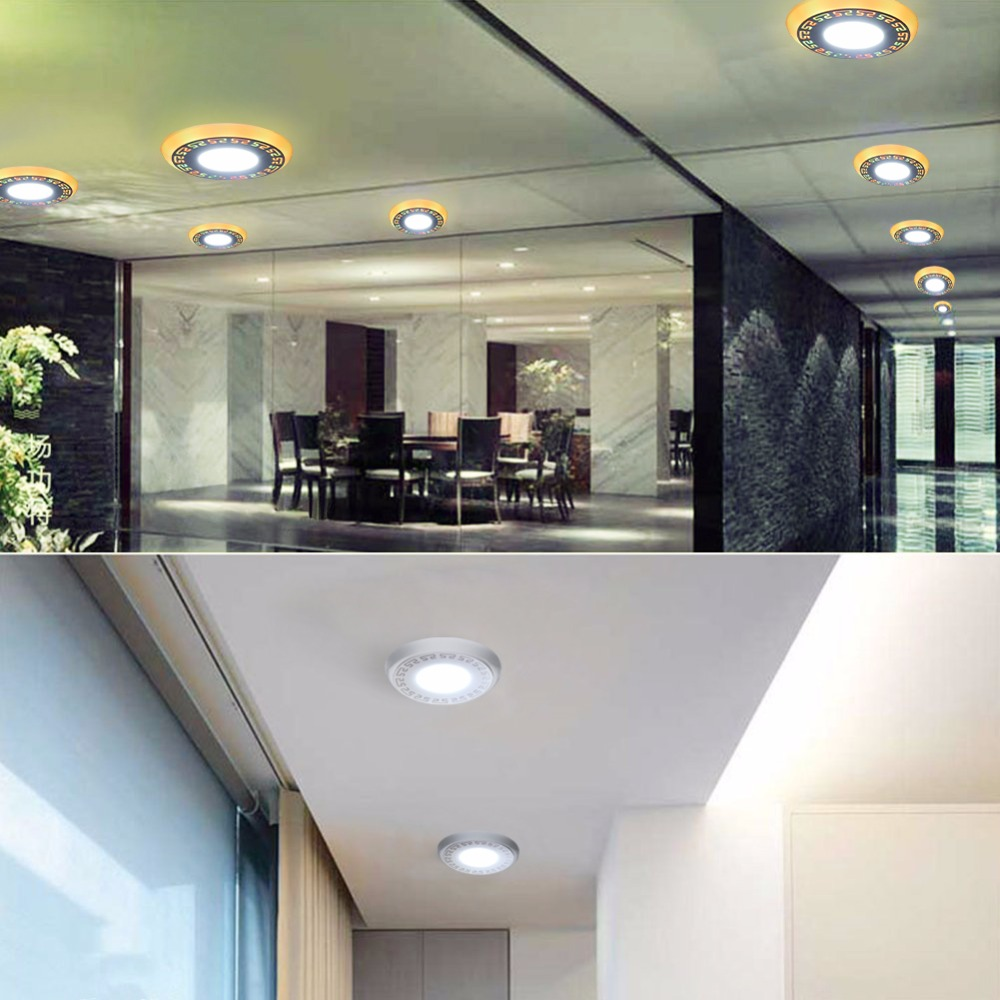 LED Panel Light with Double Color RGB controller LED Light Surface Mounted Recessed 3W 6W Indoor Lighting for Bedroom