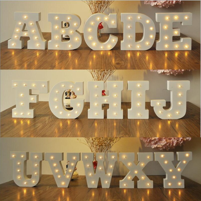 Novelty 26 Alphabets 3D Lamp DIY LED Wood Letter Light Romantic Home Letters Night Lights for Wedding Party Kids Gift Decorative