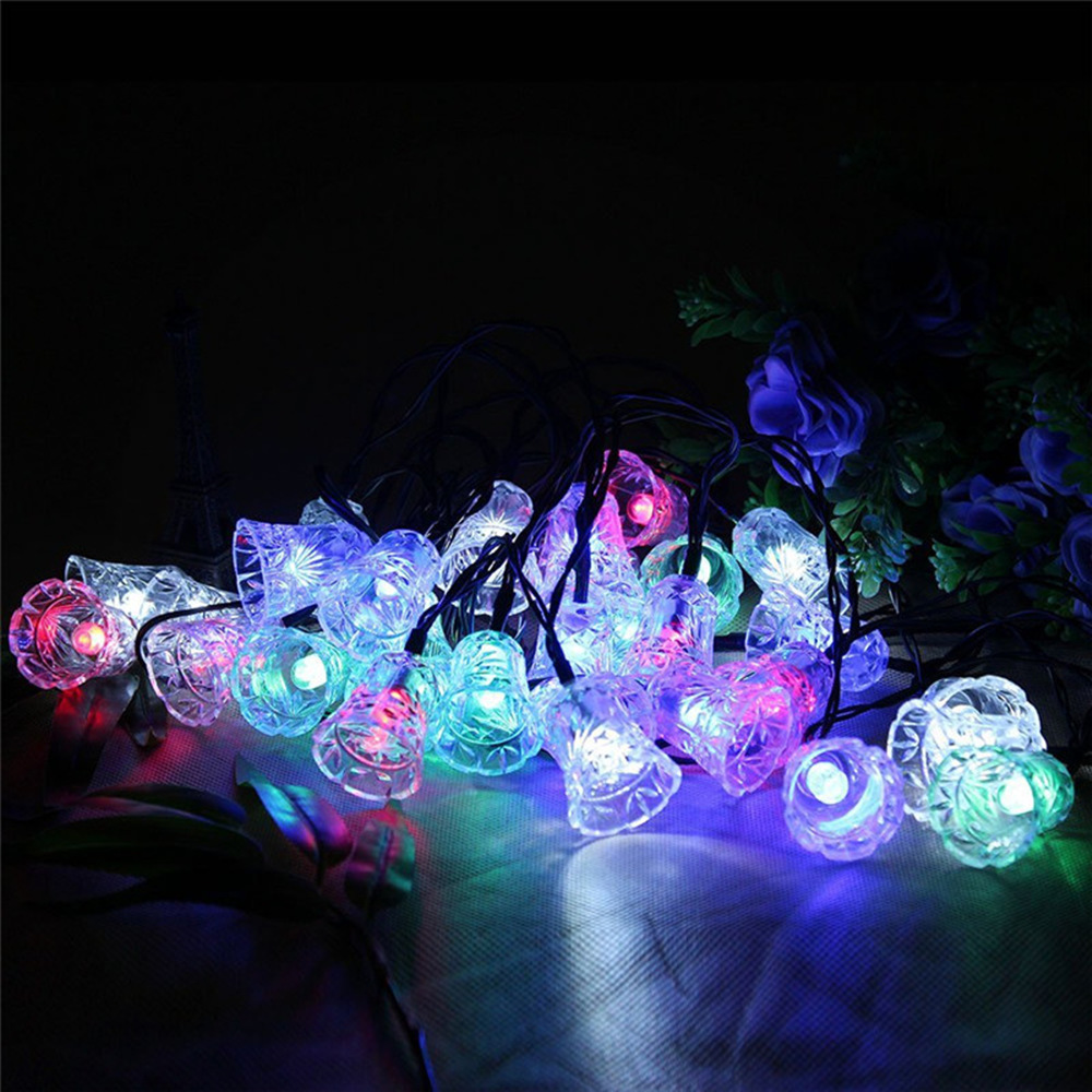 Hot Fairy Waterproof 20LED Bells Solar Powered Christmas Tree Light String Path Porch Lawn Garden Holiday Festival Wedding Decor