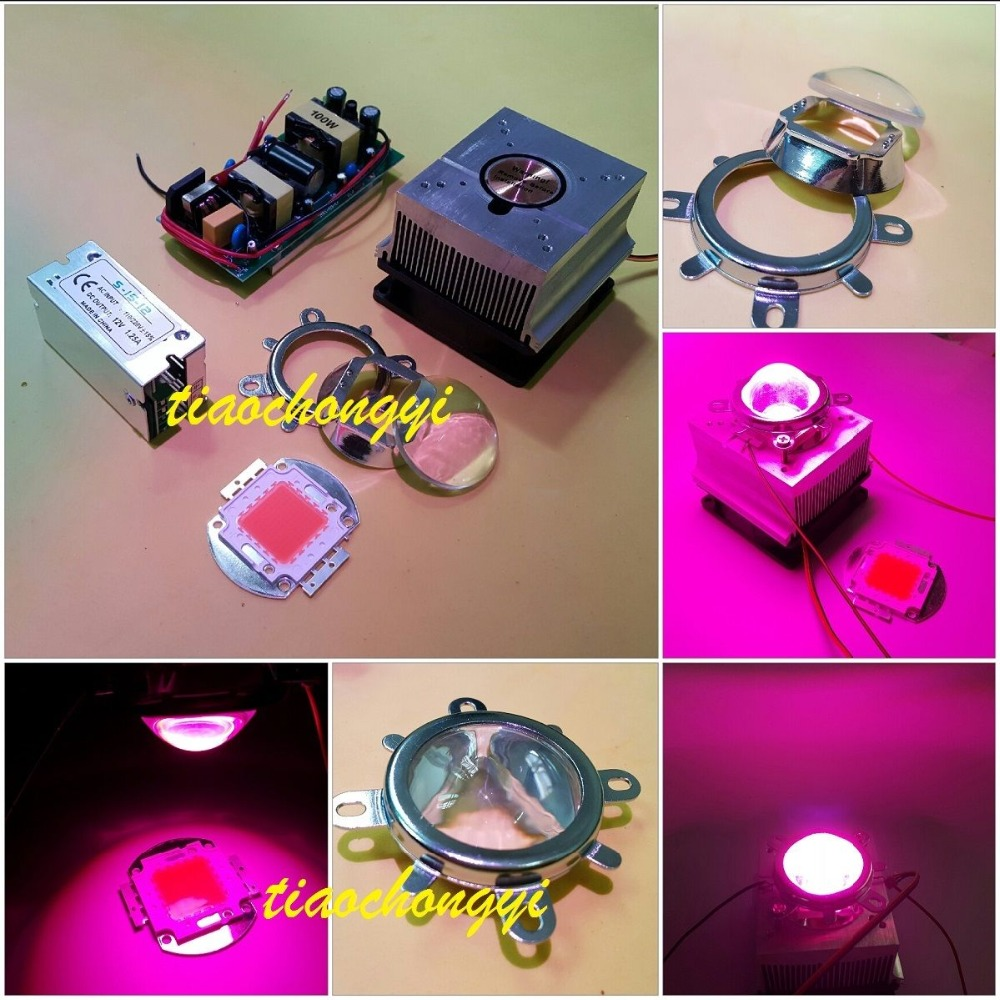 100W DIY led grow light 380-840nm kit,chip+driver+heatsink fan +60Degree lens