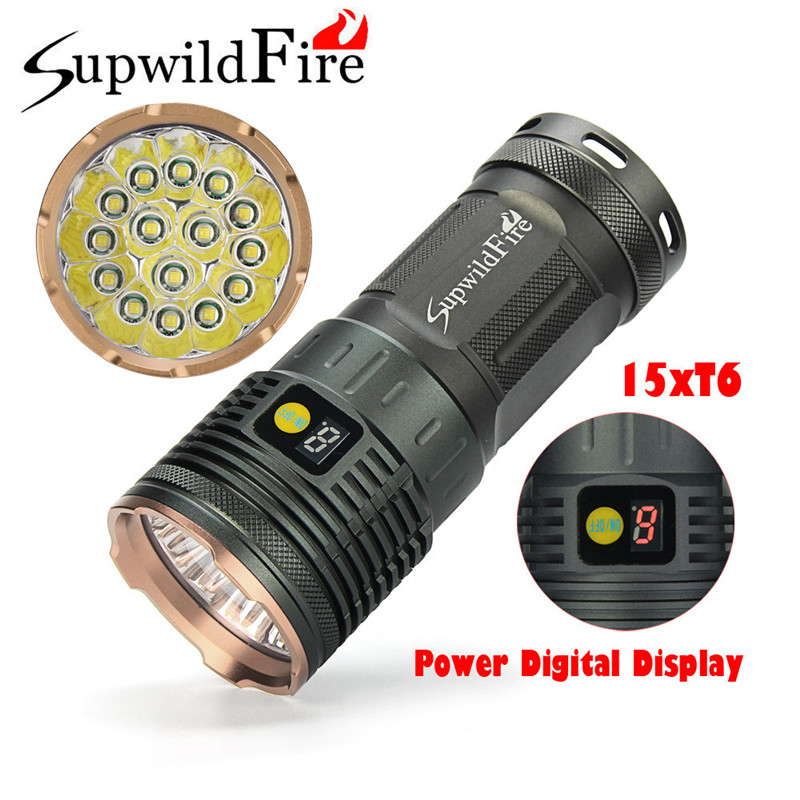 Supwildfire 50000LM 15 x XM-L T6 LED Power Digital Display Hunting Flashligt 7.20