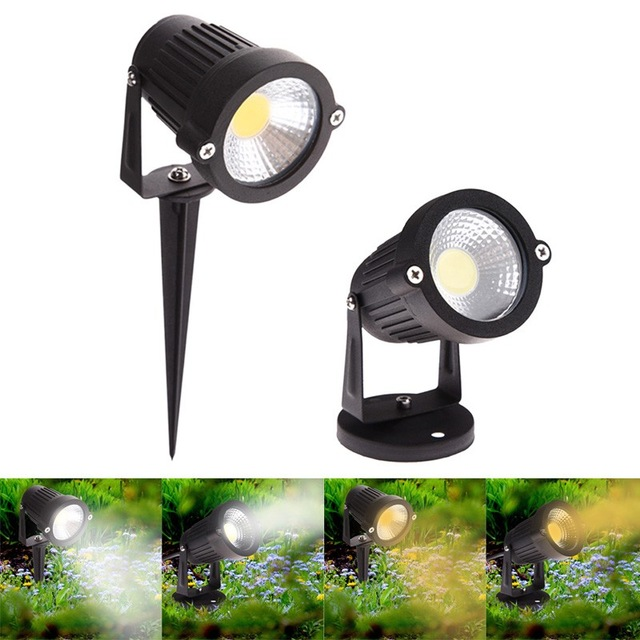 IP65 Outdoor Garden LED Light 220V 110V 12V 24V 5W COB LED Lawn Spike Light Pond Path Landscape Spot Light Bulbs