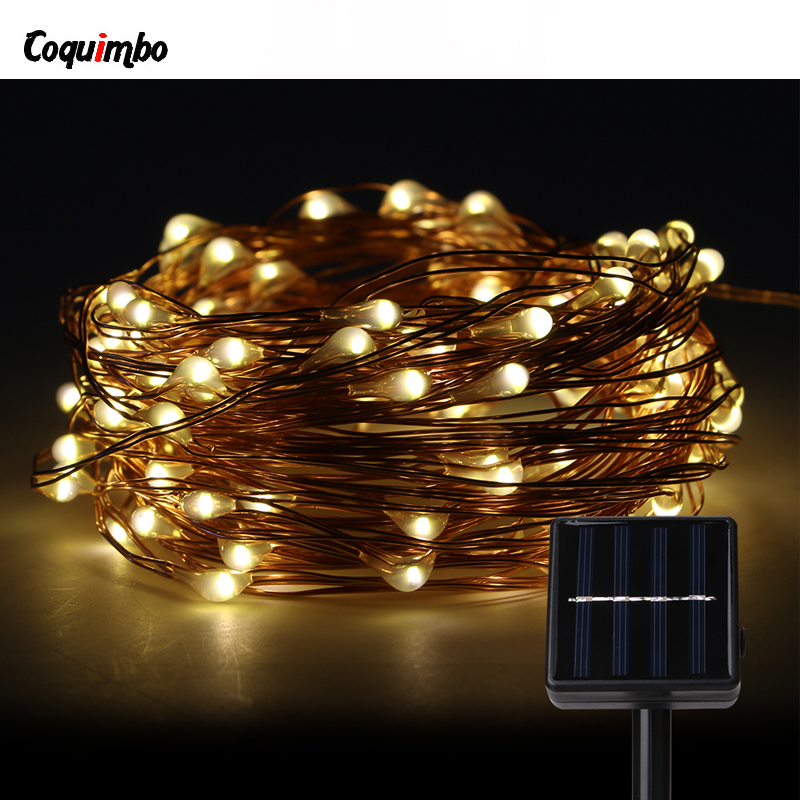 100 LEDs Solar Christmas Lights Warm White Solar String Light Fairy For Outdoor Garden Holidays Party Wedding Decoration Light