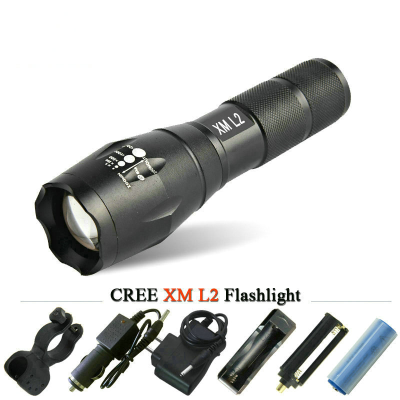 Portable powerful led flashlight zoom creexm l2 t6 waterproof lamp zaklampbike light linterna led electric torch 18650 or 3X AAA