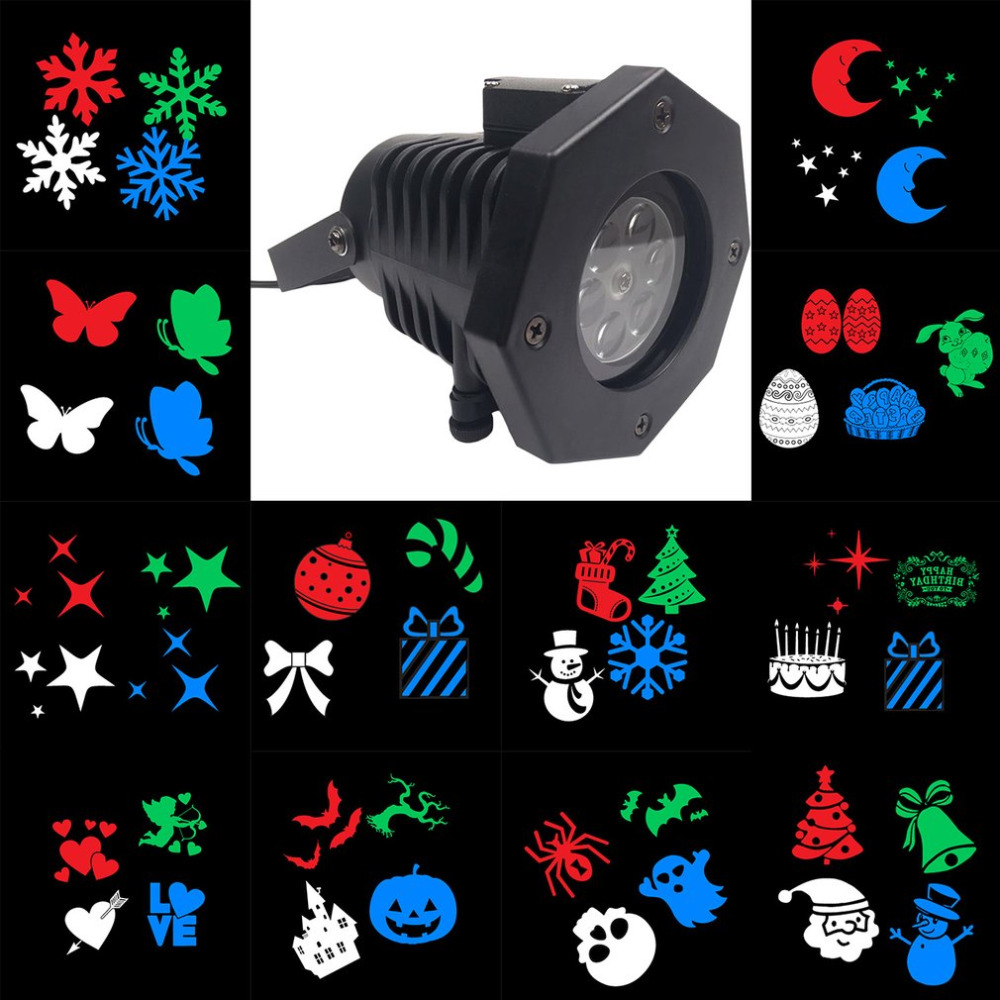 Outdoor LED Lawn Lamps Laser Spots Projector Waterproof 12 Cards Party Light Christmas XmasSnowflake Lights for Kids Birthday
