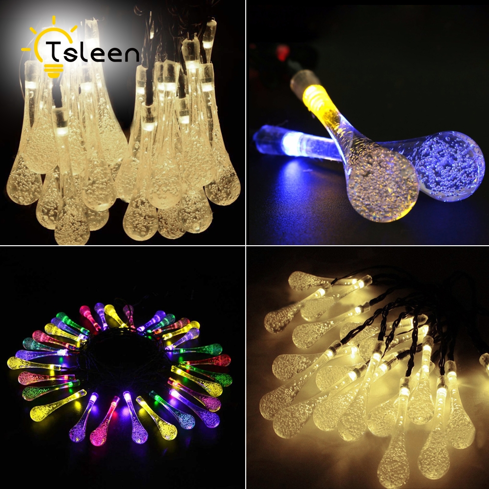 TSLEEN 7M 50Leds Solar Powered Water Drop String Lights LED Wateproof Fairy String Lights For Outdoor Garden Wedding Decoration