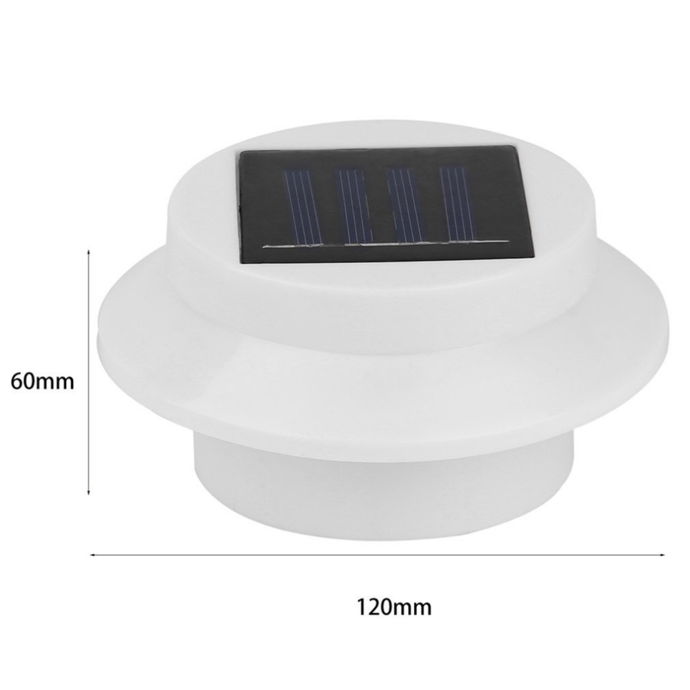 Solar Powered Outdoor Garden Light Water Resistant LED Fence Lamp Pathway Light with Three LEDs Black Case