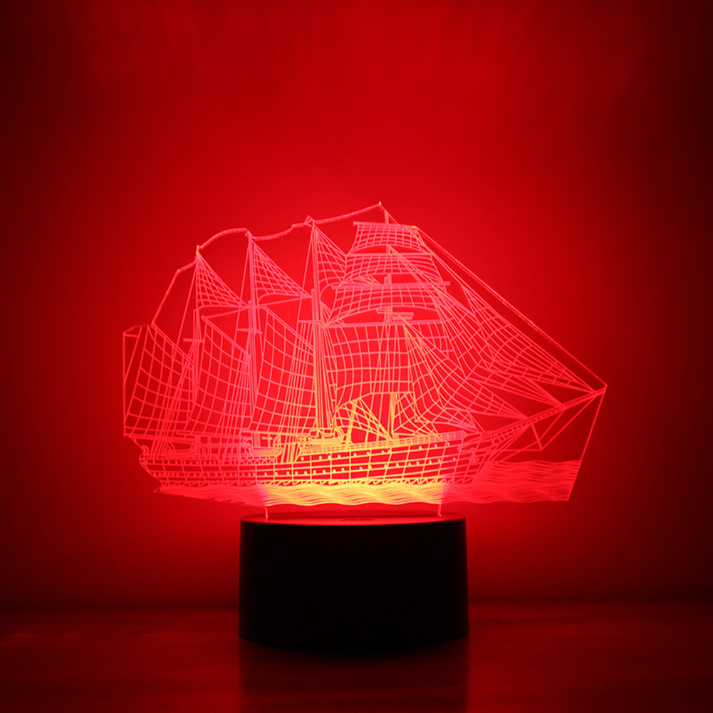 3D Stereo Vision Lamp 7 Color Change Sailing Boat Acrylic Lamp Remote Switch Lamp Bedroom Bedside Lamp Chistmas Gift