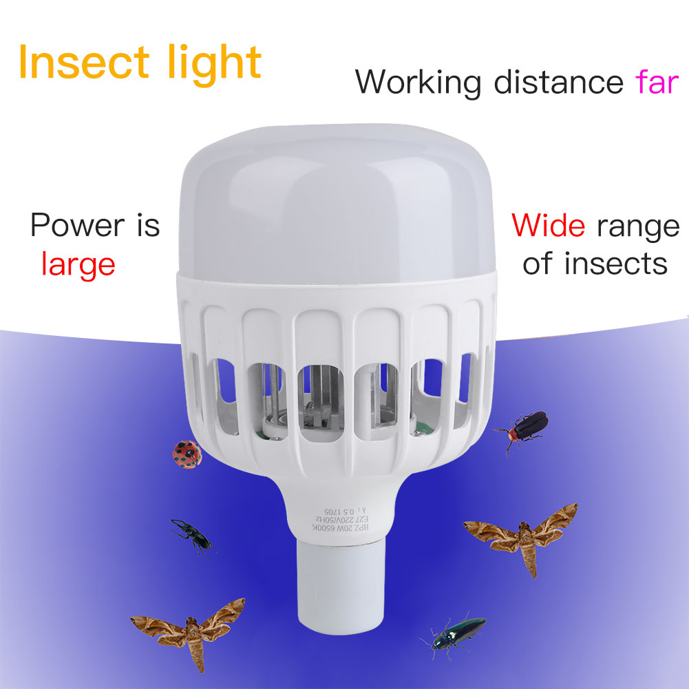 E27 Insect Light Lamp Bulb Mosquito Killer Home Protector AC 160-260V White