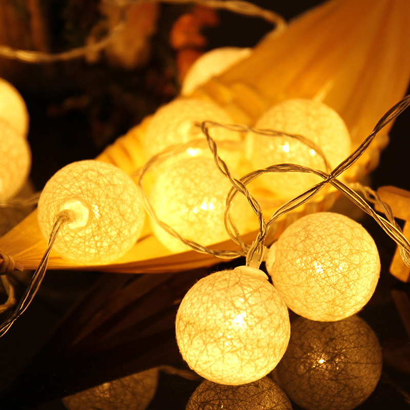 2.3M 20 LEDs Cotton Ball String Lights Xmas Lover Wedding Party Holiday Bedroom Decorations Fairy Lamp Galands Battery Operated