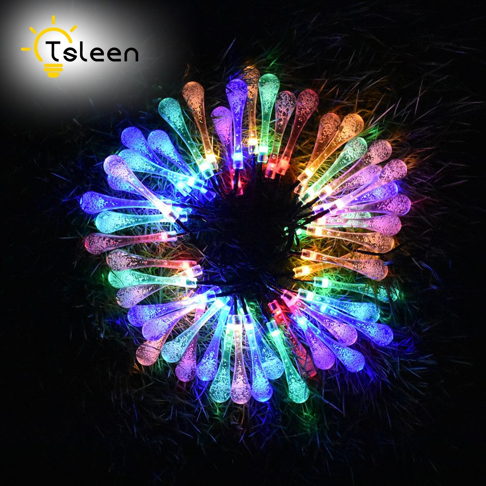 TSLEEN 4PCS Water Drop LED Fairy String Light Wedding Christmas Party Decoration Solar Powered lamp Outdoor Lighting Warmwhite