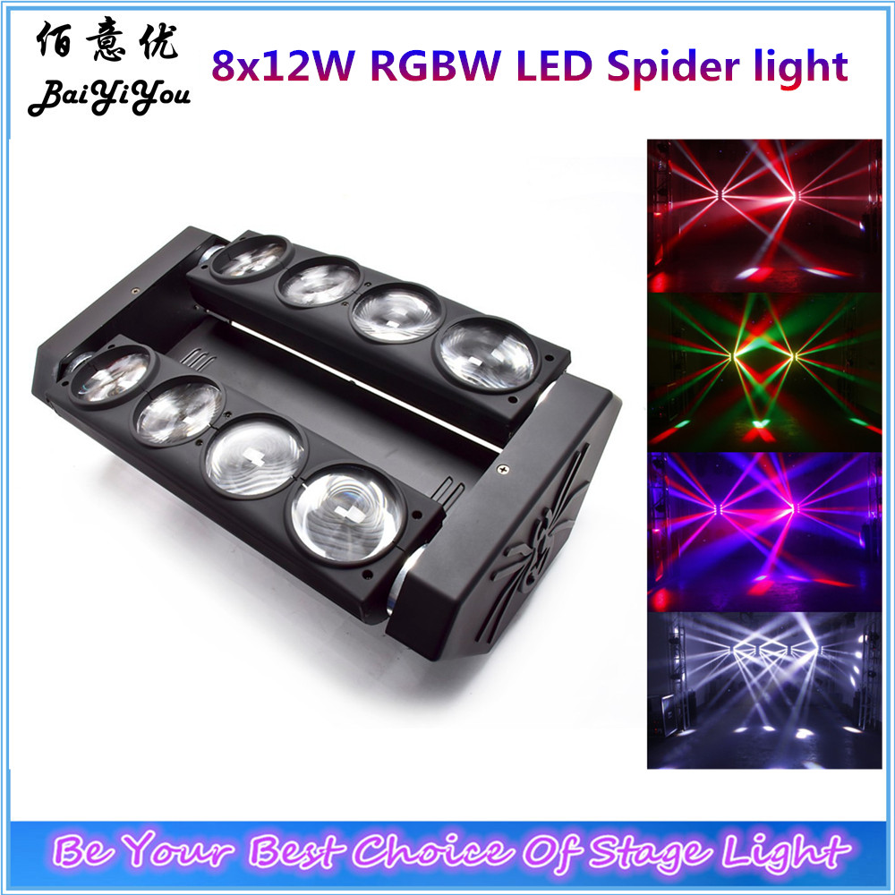 2pcs/lot 8*12W RGBW 4in1 CREE LED Double Row Spider Beam Light 8x12W RGBW OR Single White LED Moving Head Spider Beam Light