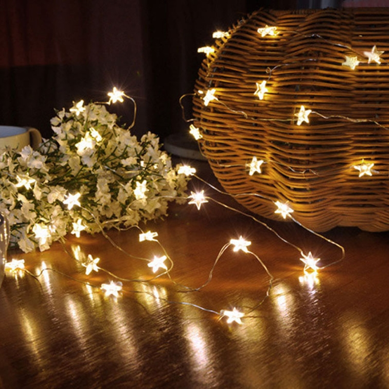 50 LED Stars Copper Wire Fairy String Lights Christmas Wedding Decor Waterproof 5m
